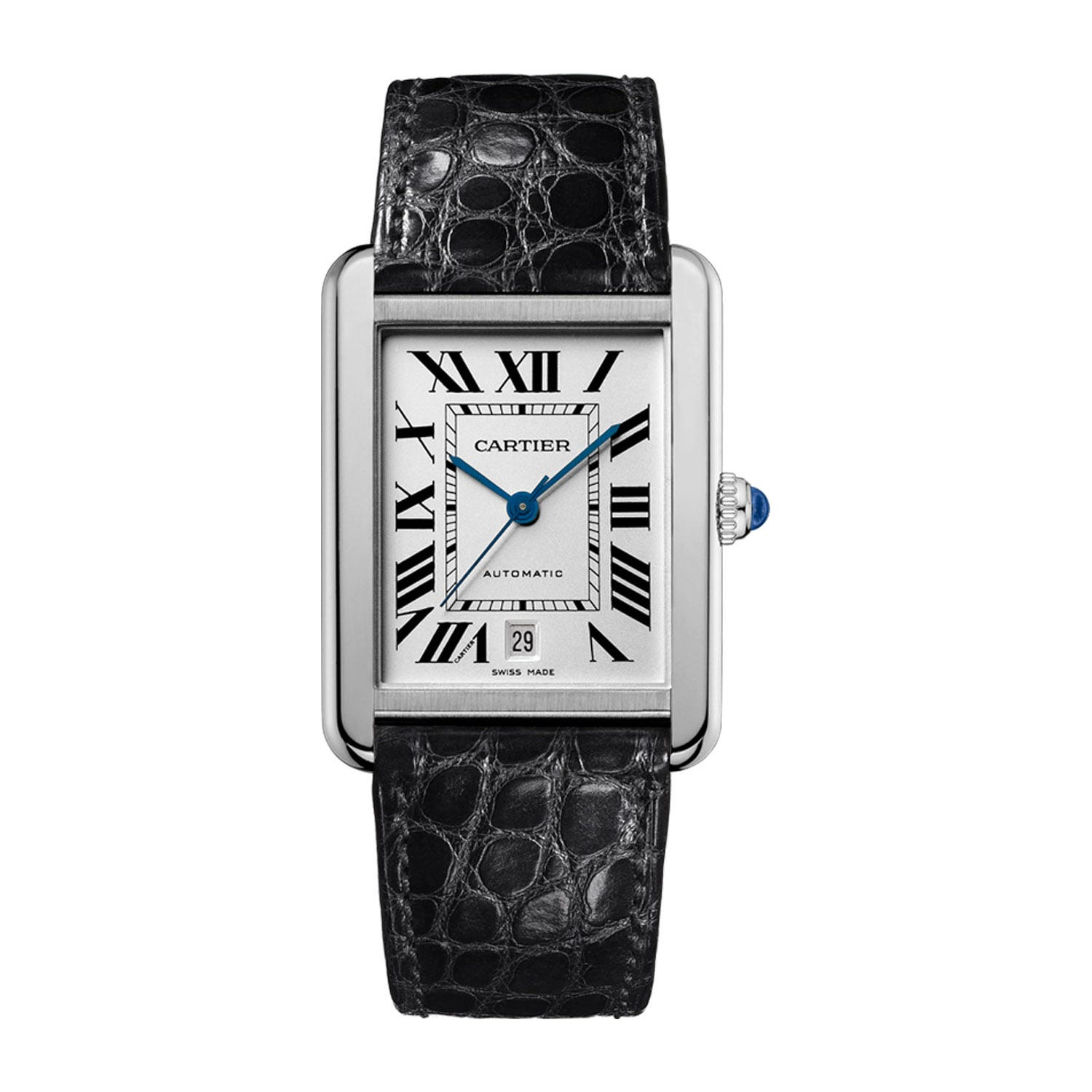 Cartier Tank Solo Ladies' Extra-Large Automatic Black Leather Strap Watch