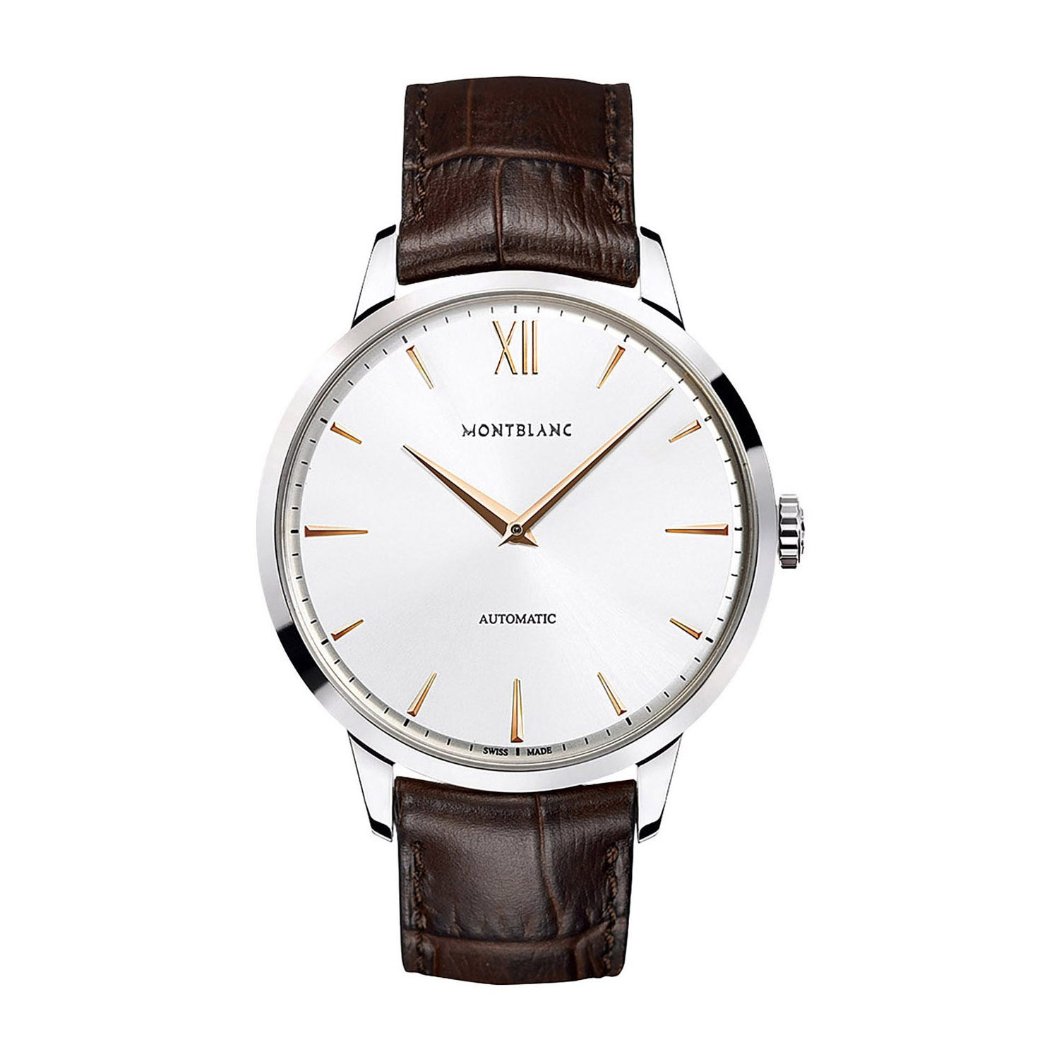 Montblanc Heritage Spirit Automatic men's brown leather strap watch