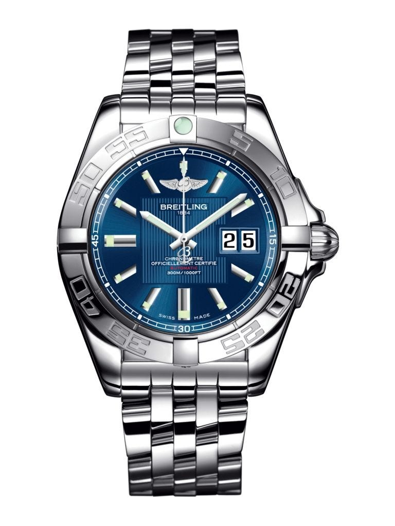 Breitling Galactic Blue Baton Dial Watch