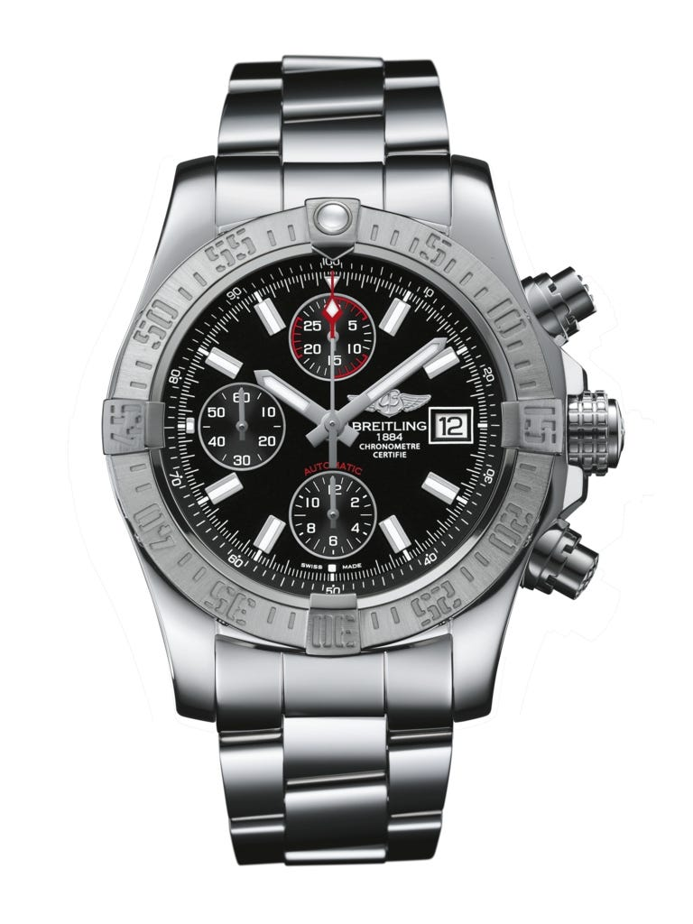 Breitling Avenger II men's chronograph black dial stainless steel bracelet watch