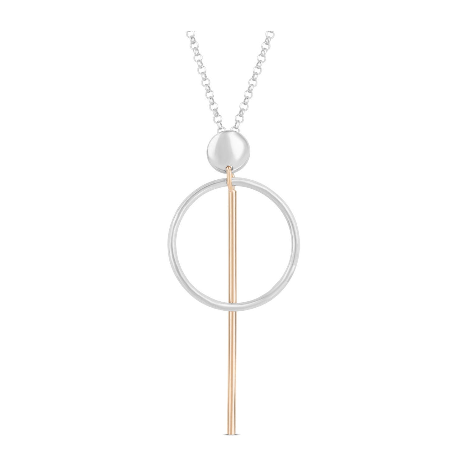 Sterling Silver & Rose Gold-Plated Circle Bar Pendant