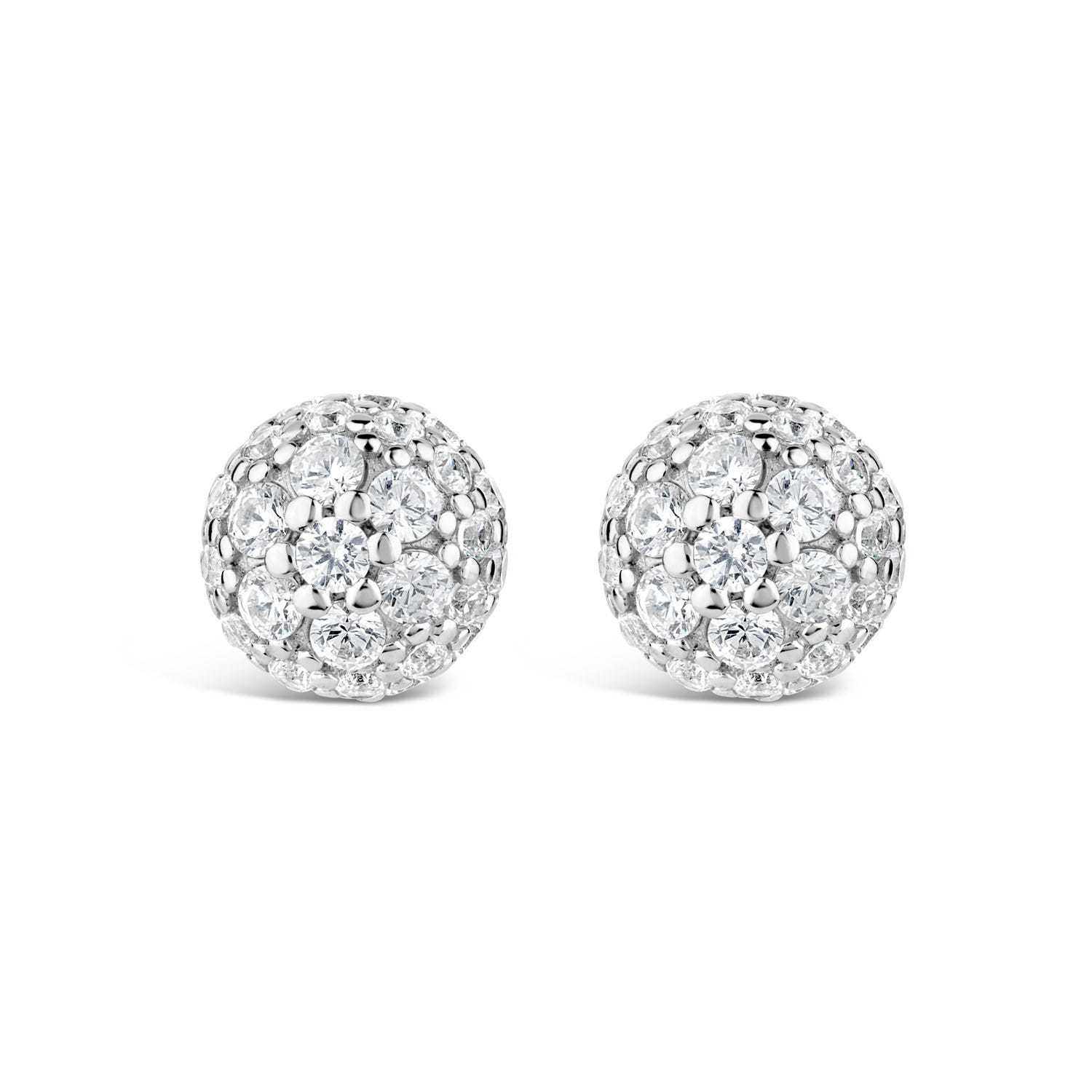 Sterling Silver Cubic Zirconia Dome Stud Earrings
