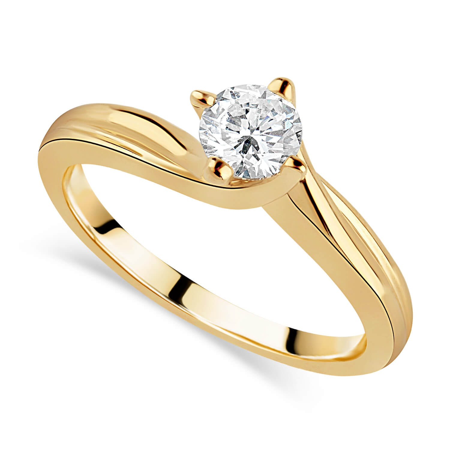 18ct Yellow Gold 0.33ct Diamond Four Claw Twist Ring