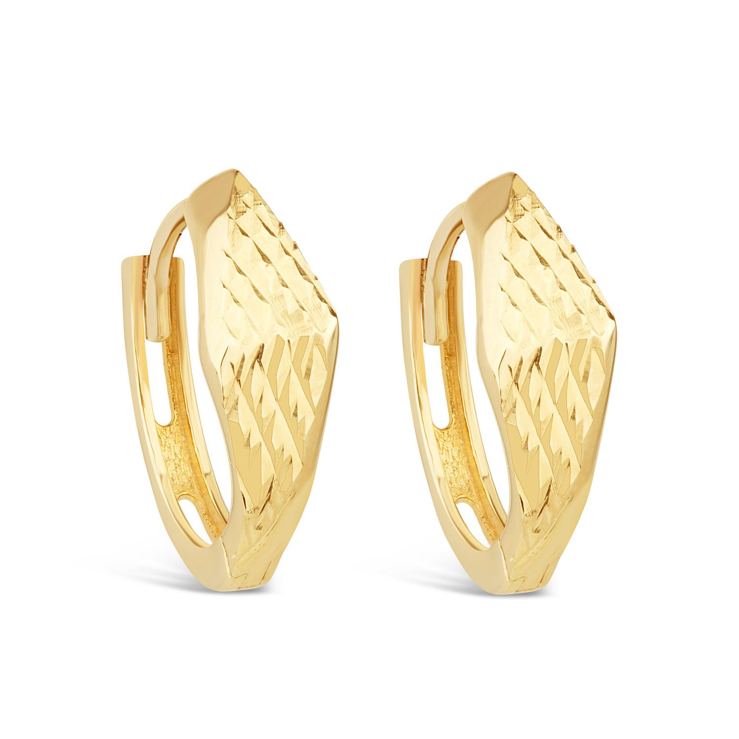 9ct Yellow Gold Textured Hoop Earrings