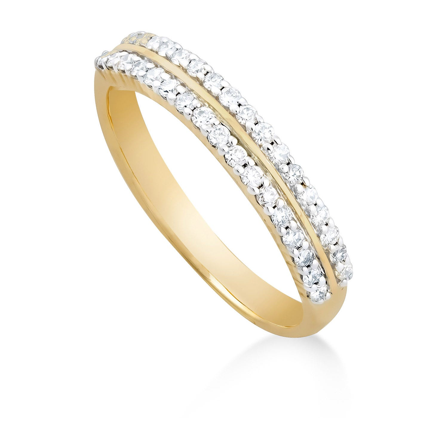 Ladies' 9ct gold 0.25 carat diamond two row wedding ring