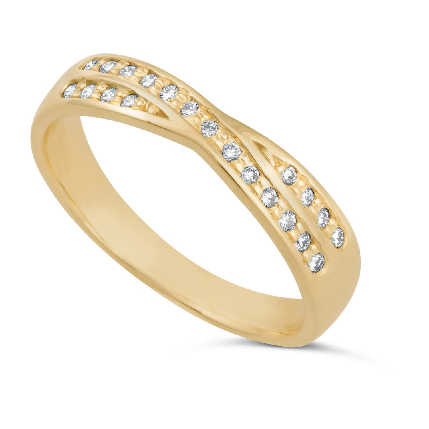 Ladies' 9ct gold diamond crossover wedding ring