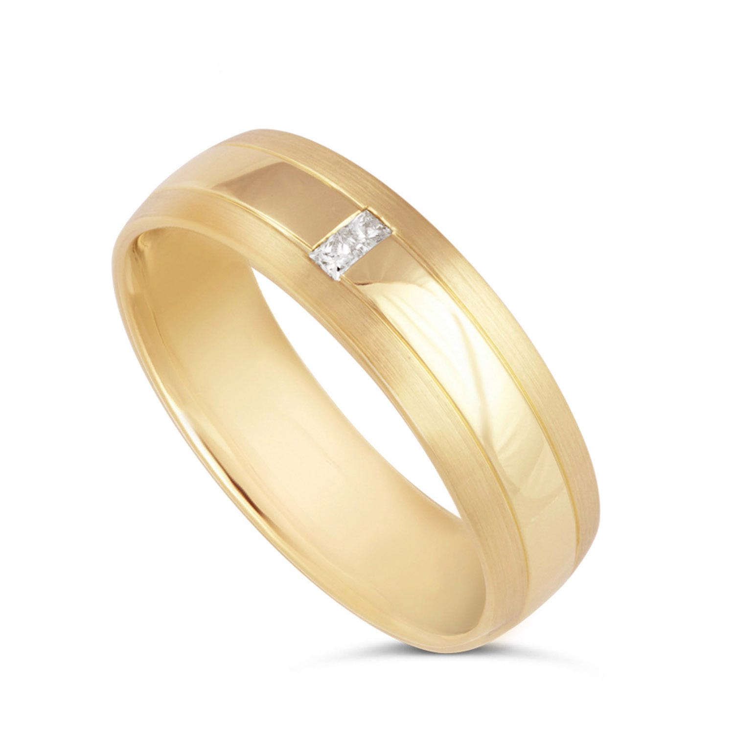 Men's 9ct gold princess cut diamond 6mm wedding ring