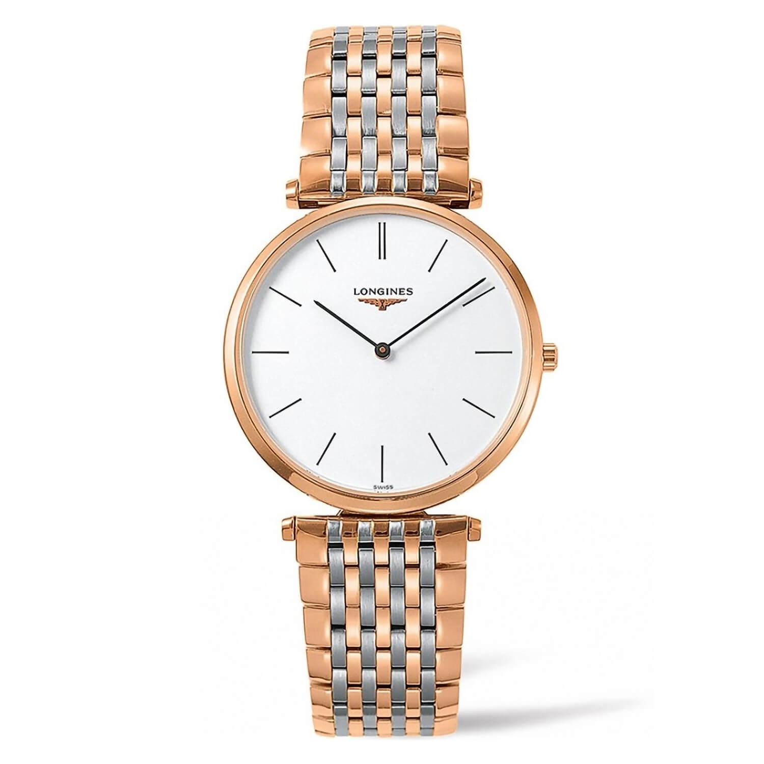 Longines White Dial Two Tone Steel And Rose Gold Bracelet Ladies Watch