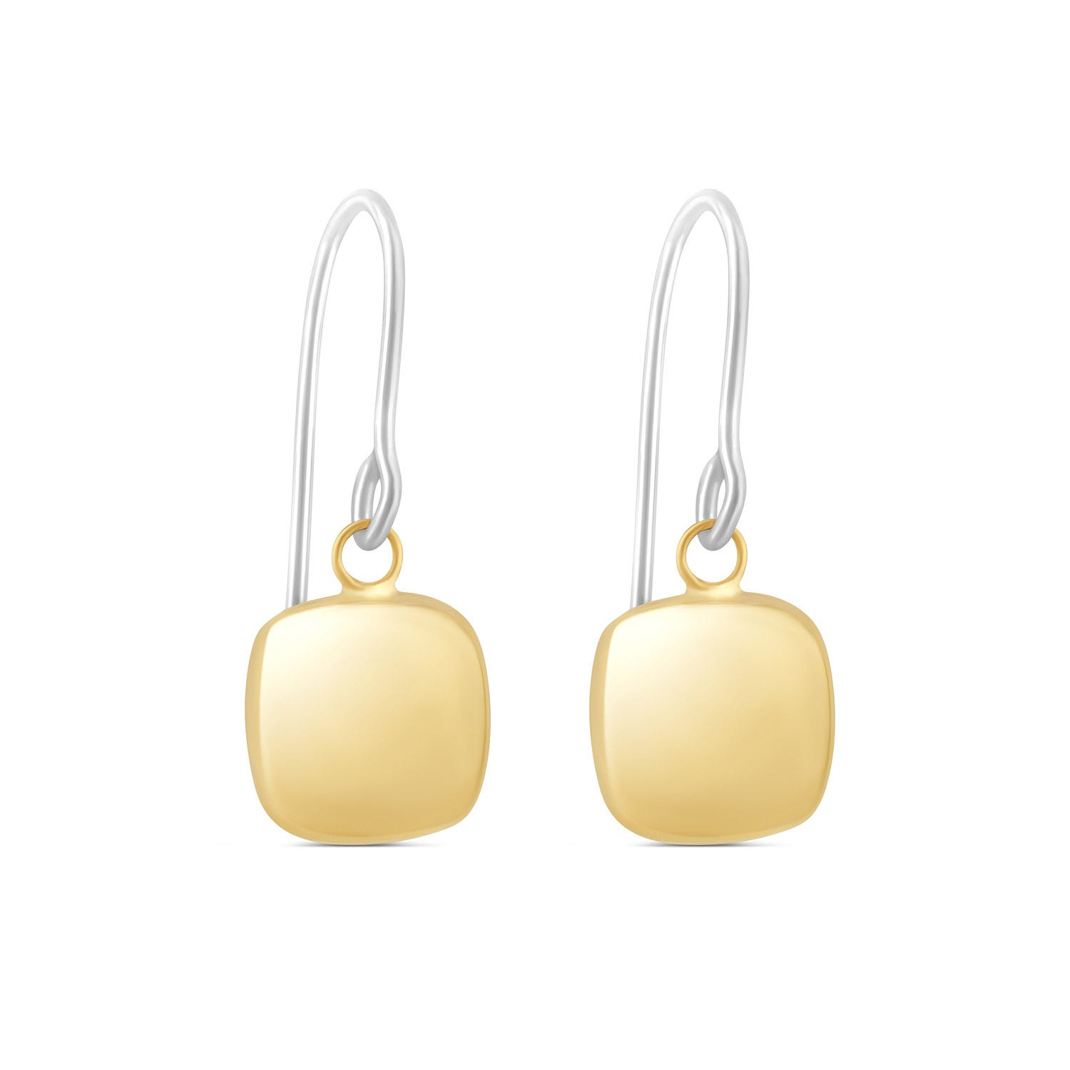 9ct Yellow and White Gold Square Drop Earrings