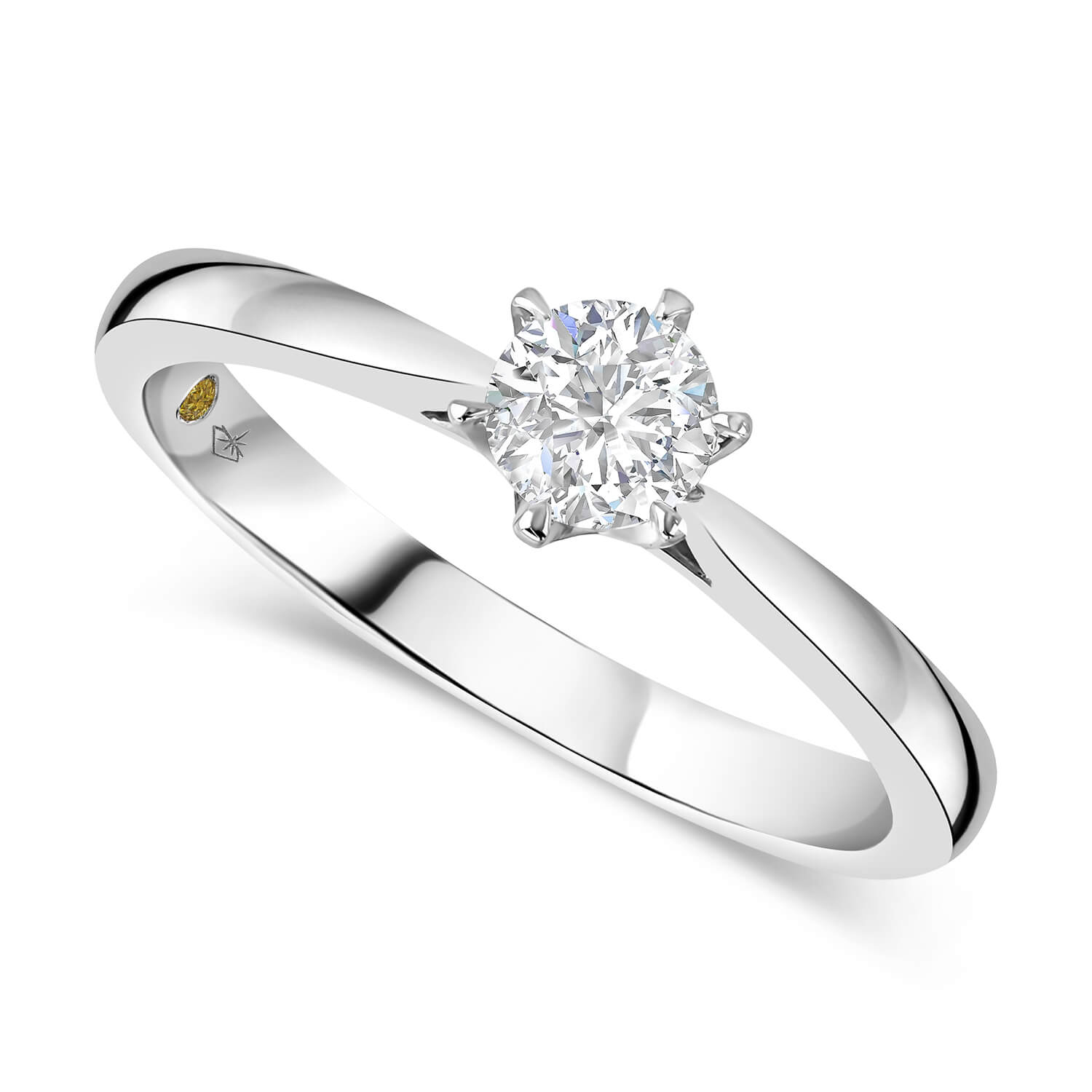 Northern Star 18ct White Gold 0.40ct Diamond Six Claw Solitaire Ring