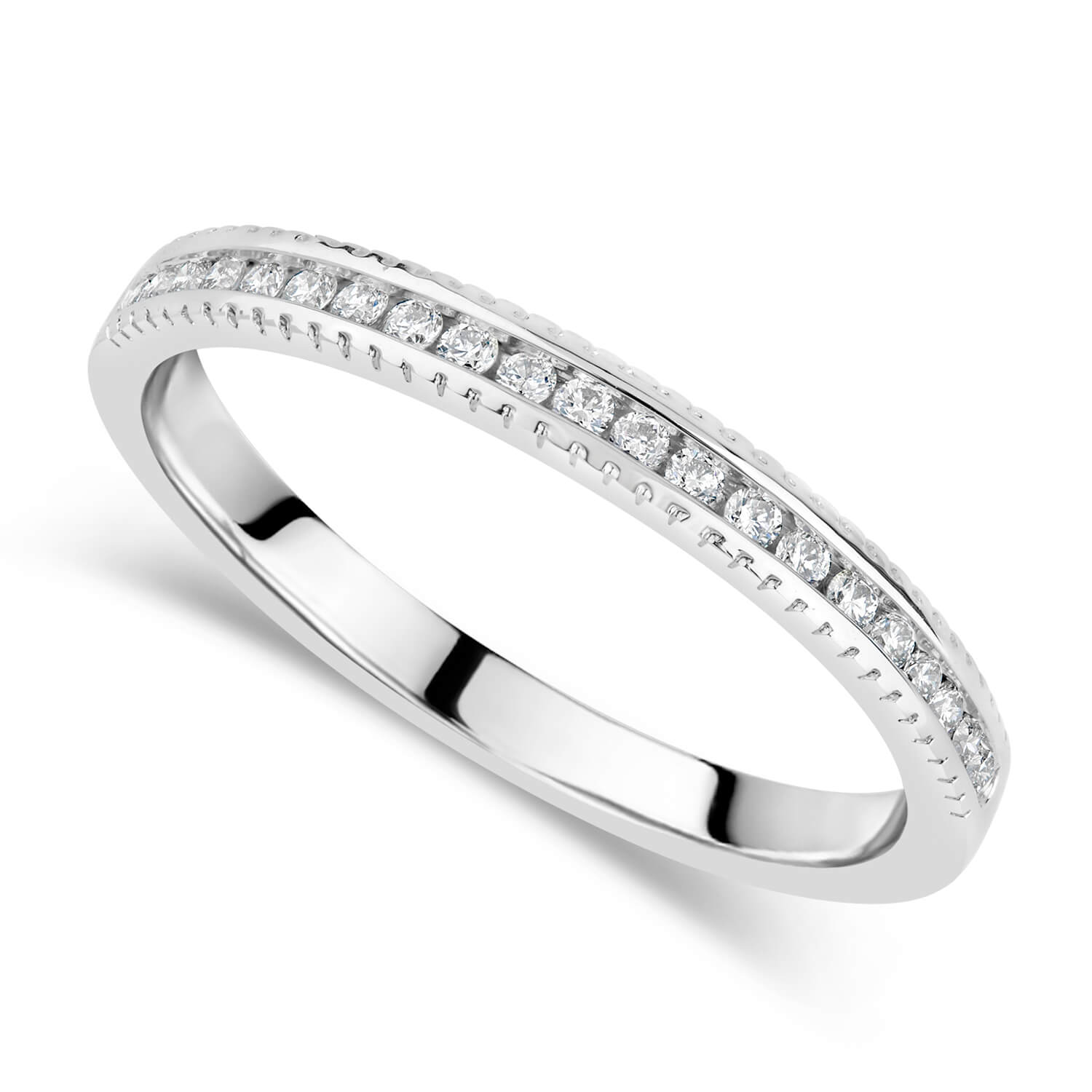 9ct White Gold 0.16ct Diamond Beaded Edge Eternity Ring