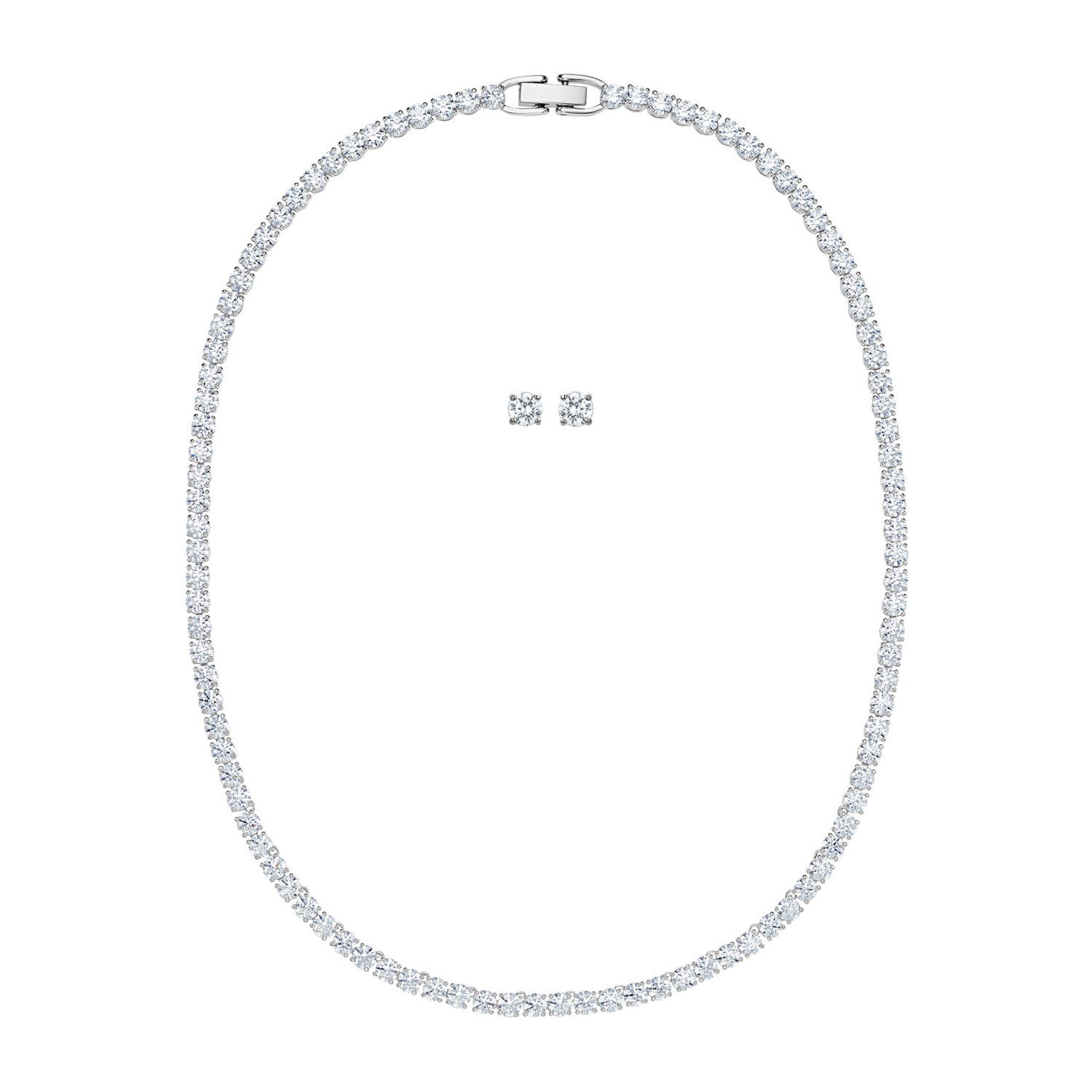 Swarovski Tennis Deluxe Collection Rhodium Plated Earring And Necklace Set