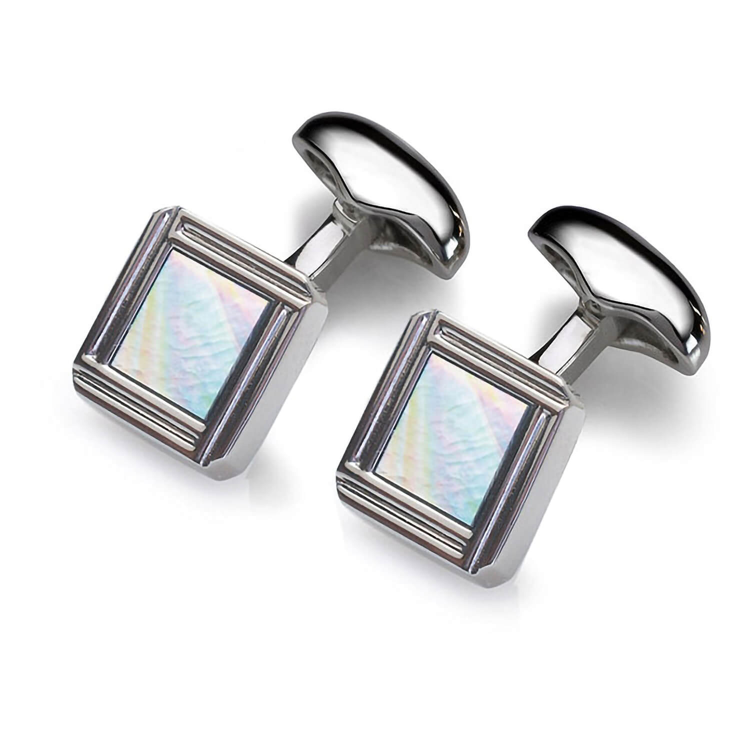 Babette Wasserman Celtic mother of pearl and rhodium-plated square cufflinks