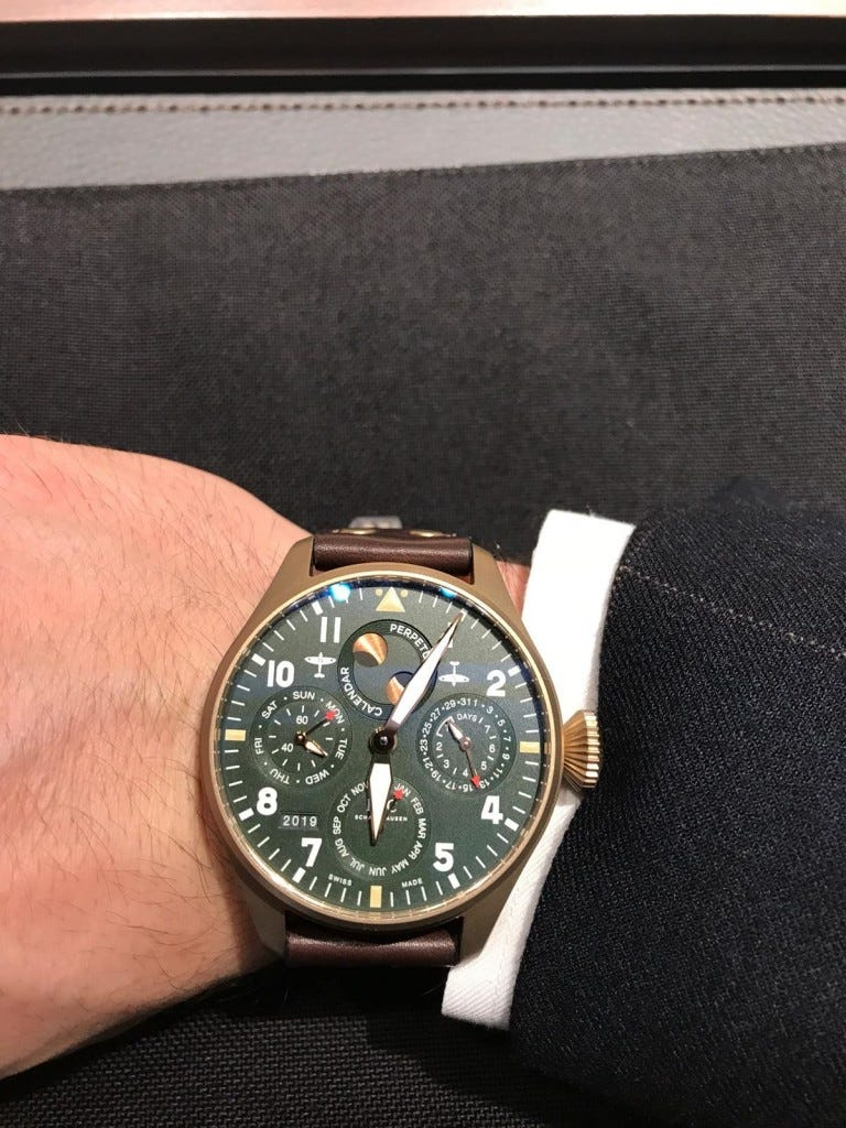 as seen at sihh 2019 IWC spitfire watch on a mans wrist